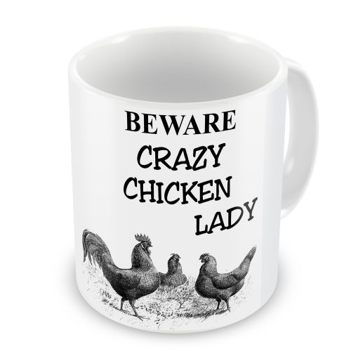 Beware Crazy Chicken Lady Novelty Gift Mug
